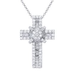 1.1 CTW Diamond Necklace 18K White Gold - REF-123H7M