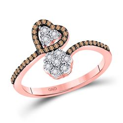 1/5 CTW Round Brown Diamond Bypass Flower Heart Ring 10kt Rose Gold - REF-16M8A
