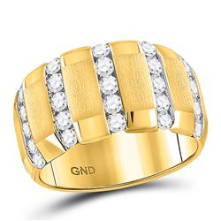 1 & 1/2 CTW Mens Brushed Round Diamond Wedding Vertical Channel Ring 14kt Yellow Gold - REF-162M3A