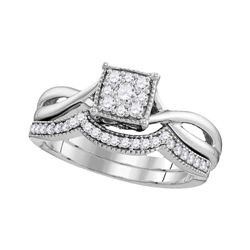 1/3 CTW Diamond Flower Cluster Bridal Wedding Engagement Ring 10kt White Gold - REF-35F9M
