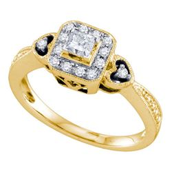 1/3 CTW Princess-cut Diamond Bridal Wedding Engagement Ring 14kt Yellow Gold - REF-41X9T