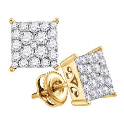 1 CTW Round Diamond Square Cluster Stud Earrings 10kt Yellow Gold - REF-47A9N