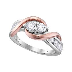 1/2 CTW Round Diamond 2-stone Bridal Wedding Engagement Ring 14kt Two-tone Gold - REF-47X9T