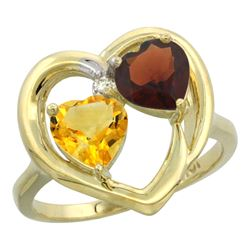 2.61 CTW Diamond, Citrine & Garnet Ring 14K Yellow Gold - REF-33Y9V