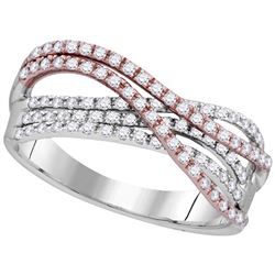 1/2 CTW Round Diamond Strand Ring 10kt Two-tone White Rose Gold - REF-33W6F