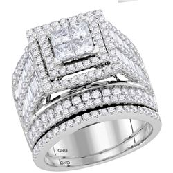 3 CTW Princess Diamond Bridal Wedding Engagement Ring 14kt White Gold - REF-215H9W