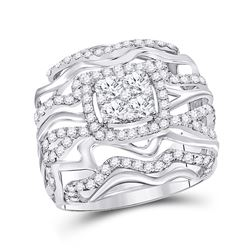 1 & 1/2 CTW Round Diamond Right Hand Cluster Ring 14kt White Gold - REF-126M3A
