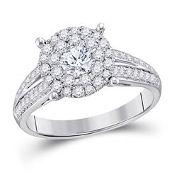 1 CTW Round Diamond Solitaire Bridal Wedding Engagement Ring 14kt White Gold - REF-101K9R