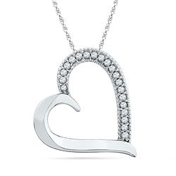1/10 CTW Round Diamond Heart Outline Pendant 10kt White Gold - REF-9A6N