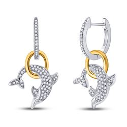 1/3 CTW Round Diamond Dolphin Hoop Dangle Earrings 10kt Two-tone Gold - REF-32N3Y