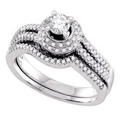 1/2 CTW Round Diamond Bridal Wedding Engagement Ring 14kt White Gold - REF-71M9A