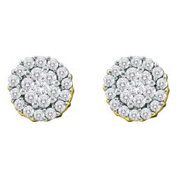 3/4 CTW Round Diamond Flower Cluster Screwback Earrings 14kt Yellow Gold - REF-45H6W