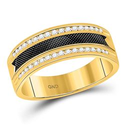 1/4 CTW Mens Round Diamond Double Row Black Textured Wedding Ring 14kt Yellow Gold - REF-43H5W