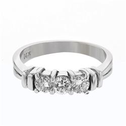 0.59 CTW Diamond Ring 14K White Gold - REF-51M2F