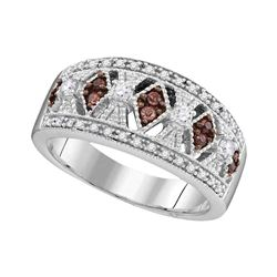 1/3 CTW Round Brown Diamond Milgrain Symmetrical Ring 10kt White Gold - REF-35N9Y