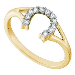 1/10 CTW Round Diamond Lucky Horseshoe Split-shank Ring 10kt Yellow Gold - REF-11M9A