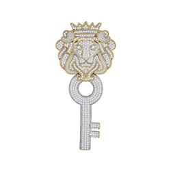1 & 5/8 CTW Mens Round Diamond King Lion Crown Key Charm Pendant 10kt Yellow Gold - REF-87M5A