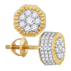 3/4 CTW Mens Round Diamond Fluted Hexagon Cluster Stud Earrings 10kt Yellow Gold - REF-35K9R