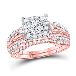7/8 CTW Round Diamond Cable Bridal Wedding Engagement Ring 10kt Rose Gold - REF-75X5T