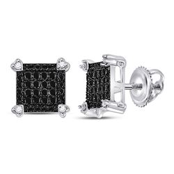 1/4 CTW Round Black Color Enhanced Diamond Square Cluster Earrings 10kt White Gold - REF-14X4T