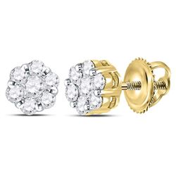 3/4 CTW Round Diamond Flower Cluster Earrings 14kt Yellow Gold - REF-51F5M