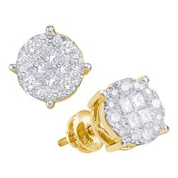 1/2 CTW Princess Round Diamond Cluster Earrings 14kt Yellow Gold - REF-45A5N