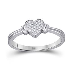 1/12 CTW Round Diamond Heart Cluster Ring 10kt White Gold - REF-11H9W
