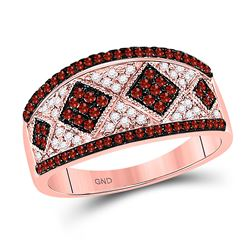 1/2 CTW Round Red Color Enhanced Diamond Striped Cluster Ring 10kt Rose Gold - REF-25F5M