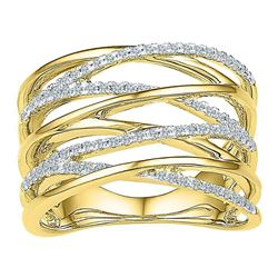 1/4 CTW Round Diamond Crossover Open Strand Ring 10kt Yellow Gold - REF-33M3A