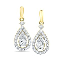 1/2 CTW Round Diamond Solitaire Teardrop Frame Dangle Earrings 10kt Yellow Gold - REF-41Y9X