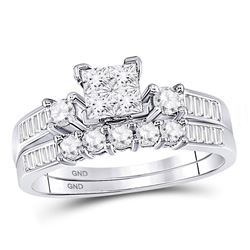 7/8 CTW Princess Diamond Bridal Wedding Engagement Ring 14kt White Gold - REF-57Y3X