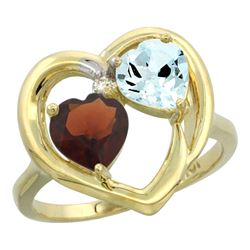 2.61 CTW Diamond, Garnet & Aquamarine Ring 10K Yellow Gold - REF-27M9A