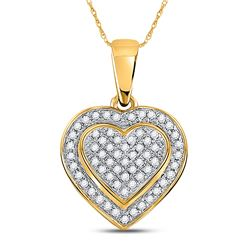 1/4 CTW Round Diamond Heart Pendant 10kt Yellow Gold - REF-19Y2X