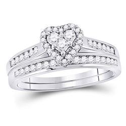 1/2 CTW Diamond Heart Bridal Wedding Engagement Ring 14kt White Gold - REF-38H4W
