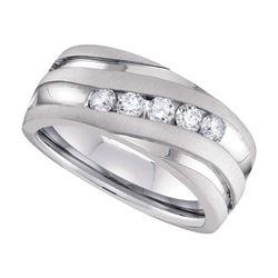 1 CTW Mens Round Diamond Wedding Anniversary Ring 10kt White Gold - REF-162H3W