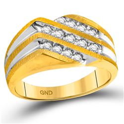 1/2 CTW Mens Round Diamond Diagonal 3 Row Fashion Ring 10kt Two-tone Gold - REF-35X9T