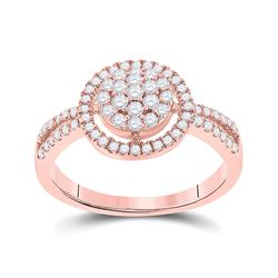1/2 CTW Round Diamond Circle Cluster Ring 10kt Rose Gold - REF-27Y5X