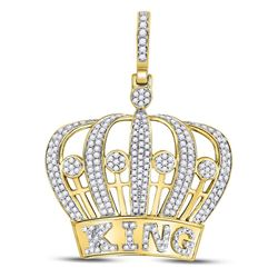 1 CTW Mens Round Diamond King Crown Charm Pendant 10kt Yellow Gold - REF-54F3M