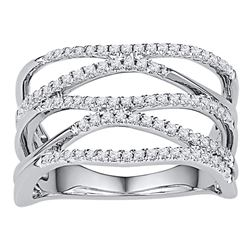 3/8 CTW Round Diamond Crossover Ring 10kt White Gold - REF-30M3A