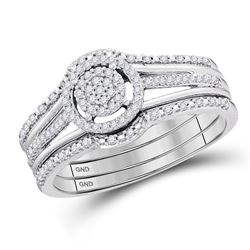 1/4 CTW Round Diamond 3-Piece Bridal Wedding Engagement Ring 10kt White Gold - REF-30H3W