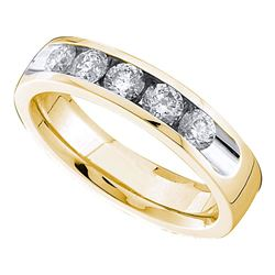 1/2 CTW Round Channel-set Diamond Single Row Wedding Ring 14kt Yellow Gold - REF-71W9F