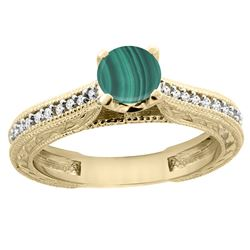 1.51 CTW Malachite & Diamond Ring 14K Yellow Gold - REF-53V3R