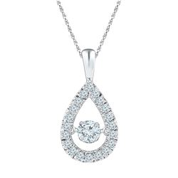 3/8 CTW Round Diamond Moving Twinkle Solitaire Teardrop Pendant 10kt White Gold - REF-41F9M