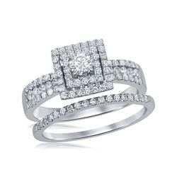 7/8 CTW Round Diamond Square Halo Bridal Wedding Engagement Ring 14kt White Gold - REF-83W9F