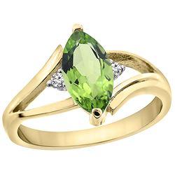 1.14 CTW Peridot & Diamond Ring 10K Yellow Gold - REF-23K2W