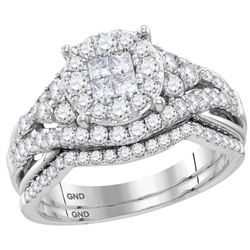 1 & 1/4 CTW Princess Diamond Bridal Wedding Engagement Ring 14kt White Gold - REF-113M9A