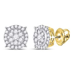 1/2 CTW Round Diamond Circle Cluster Earrings 14kt Yellow Gold - REF-39W6F