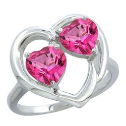 2.60 CTW Pink Topaz Ring 14K White Gold - REF-33A9X