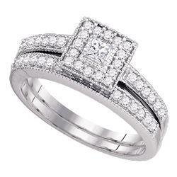1/2 CTW Princess Diamond Halo Bridal Wedding Engagement Ring 10kt White Gold - REF-45K3R
