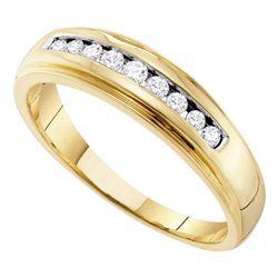 1/4 CTW Mens Round Channel-set Diamond 5mm Wedding Ring 10kt Yellow Gold - REF-25N5Y